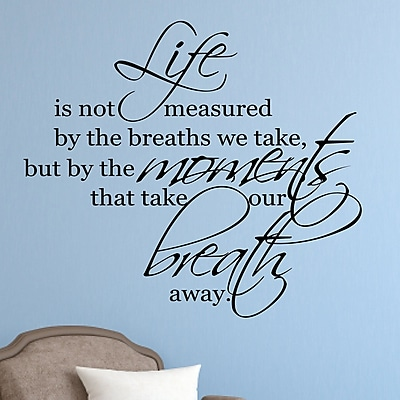 Enchantingly Elegant Life is Not Measured by the Breaths we Take Vinyl Wall Decal; 22'' H x 25'' W