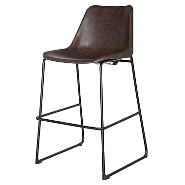 17 Stories Sein Low Back Bar Stool; Vintage Coffee Brown