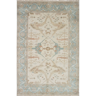 Bloomsbury Market Li Hand Knotted Wool Baby Blue/Cream Area Rug