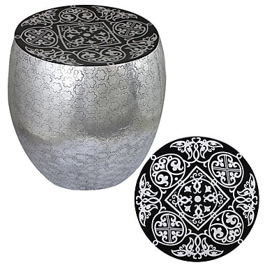 Bloomsbury Market Micco Damask Art Metal Accent Stool