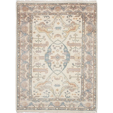 Bloomsbury Market Li Traditional Hand Knotted Rectangle Wool Cream Area Rug