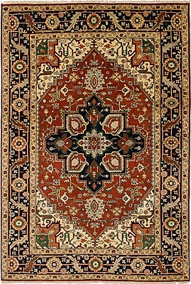 Bloomsbury Market Briggs Traditional Geometric Hand Knotted Wool Dark Copper Area Rug