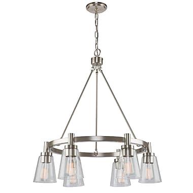 Gracie Oaks Jina Modern 6-Light Shaded Chandelier; Brushed Nickel