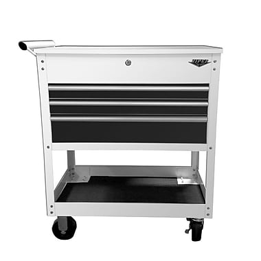 The Original Pink Box Industrial Utility 34'' Wide 3 Drawer Bottom Rollaway Chest; White/Black