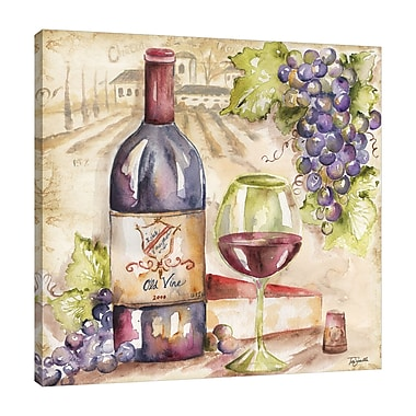 Fleur De Lis Living 'Watercolor Red Wine' Print on Wrapped Canvas; 30'' H x 30'' W