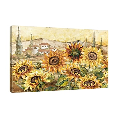 Fleur De Lis Living 'Sunflowers' Print on Wrapped Canvas; 16'' H x 24'' W