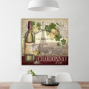 Fleur De Lis Living 'Wine Caf : Eiffel Tower' Graphic Art Print on Wrapped Canvas; 12'' H x 12'' W