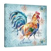 Fleur De Lis Living 'Rooster: Sunrise' Watercolor Painting Print on Wrapped Canvas; 18'' H x 18'' W