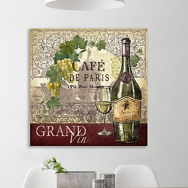 Fleur De Lis Living 'Wine Caf : Montmarte' Graphic Art Print on Wrapped Canvas; 32'' H x 48'' W