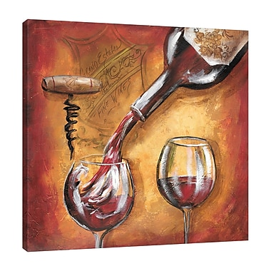 Fleur De Lis Living 'Wine Pouring' Print on Wrapped Canvas; 30'' H x 30'' W
