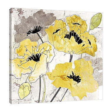 Fleur De Lis Living 'Yellow and Silver Poppies' Print on Wrapped Canvas; 36'' H x 36'' W