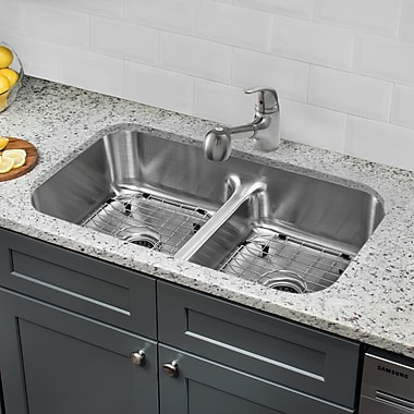 Gauge Stainless Steel 33'' x 18'' Double Basin Undermount Kitchen Sink w/ Faucet and Soap Dispenser