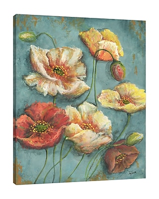 Charlton Home 'Turquoise Poppies II' Print on Wrapped Canvas; 25'' H x 20'' W