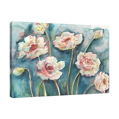 Ebern Designs 'Flowers on Turquoise' Print on Wrapped Canvas; 36'' H x 48'' W