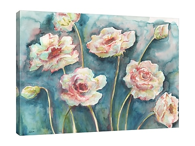 Ebern Designs 'Flowers on Turquoise' Print on Wrapped Canvas; 24'' H x 32'' W