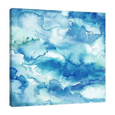 Ebern Designs 'Indigo Abstract' Watercolor Painting Print on Wrapped Canvas; 12'' H x 12'' W
