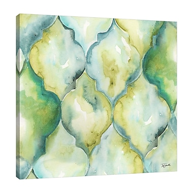 Ebern Designs 'Geo Arabesque F' Watercolor Painting Print on Wrapped Canvas; 48'' H x 48'' W