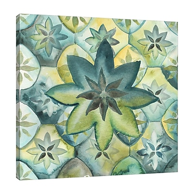 Ebern Designs 'Geo Arabesque E' Watercolor Painting Print on Wrapped Canvas; 36'' H x 36'' W