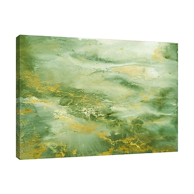 Ebern Designs 'Abstract Green and Gold' Watercolor Painting Print on Wrapped Canvas; 36'' H x 48'' W