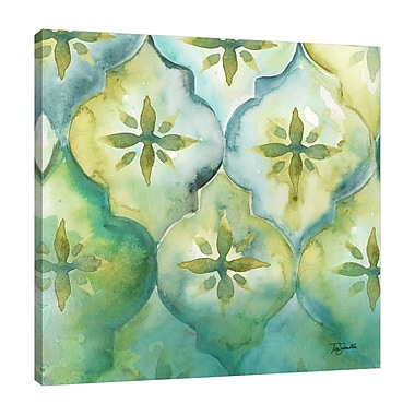 Ebern Designs 'Geo Arabesque D' Watercolor Painting Print on Wrapped Canvas; 48'' H x 48'' W