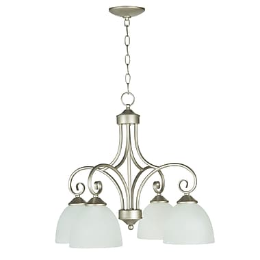 Fleur De Lis Living Ora 4-Light Shaded Chandelier; Satin Nickel with White Frosted Glass