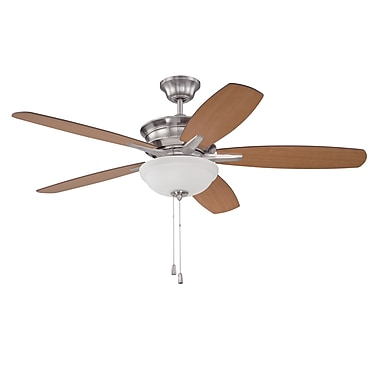 Red Barrel Studio 52'' Elizabethville 5-Blade Fan; Brushed Polished Nickel with Walnut/Teak Blades