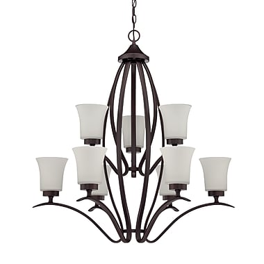 Red Barrel Studio Grampian 9-Light Shaded Chandelier; Aged Bronze Brushed