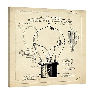 Williston Forge 'Industrial Patent: Light Bulb' Graphic Art Print on Wrapped Canvas; 18'' H x 18'' W