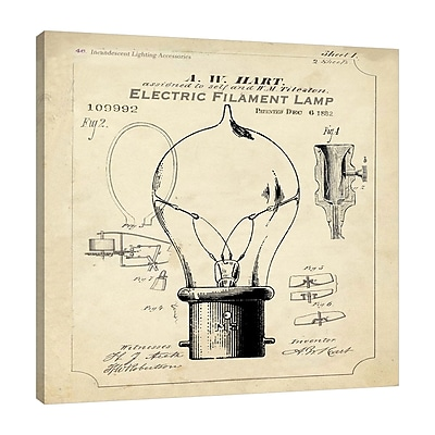 Williston Forge 'Industrial Patent: Light Bulb' Graphic Art Print on Wrapped Canvas; 36'' H x 36'' W