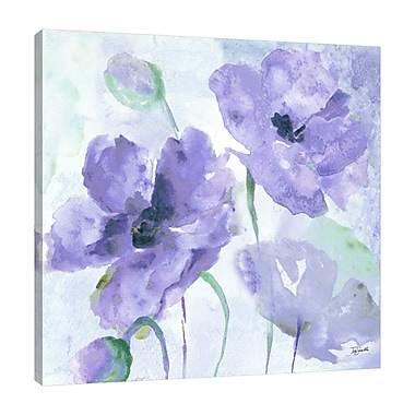 Winston Porter 'Purple Poppies II' Watercolor Painting Print on Wrapped Canvas; 18'' H x 18'' W