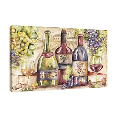 Fleur De Lis Living 'Watercolor Wine' Print on Wrapped Canvas; 24'' H x 36'' W