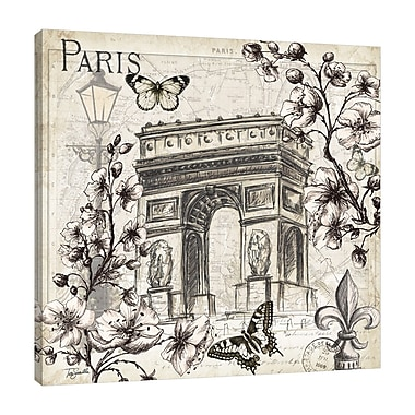 Ophelia & Co. 'Paris in the Springtime: Arch' Graphic Art Print on Wrapped Canvas; 18'' H x 18'' W