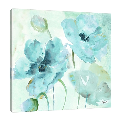 Ophelia & Co. 'Watercolor Blue Poppy VI' Print on Wrapped Canvas; 18'' H x 18'' W