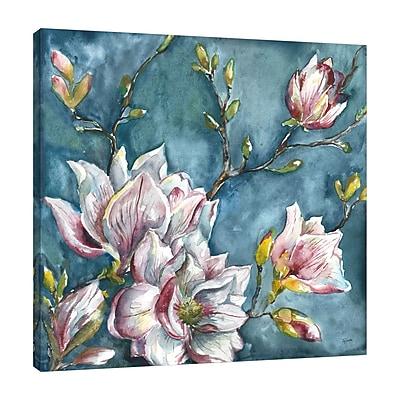 Ophelia & Co. 'Magnolia on Blue 2' Print on Wrapped Canvas; 18'' H x 18'' W