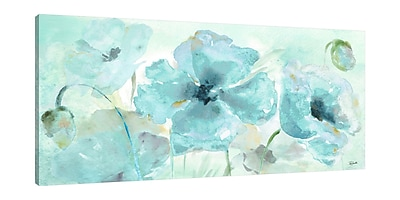 Ophelia & Co. 'Watercolor Blue Poppy V' Print on Wrapped Canvas; 18'' H x 36'' W