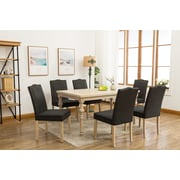 One Allium Way Edeline Country Styled 7 Piece Dining Set w/ Round Carved Legs; Dark Gray (Charcoal)