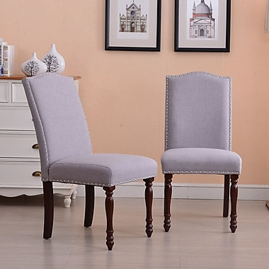 Alcott Hill Rexroad Classic Parson Upholstered Dining Chair (Set of 2); Gray