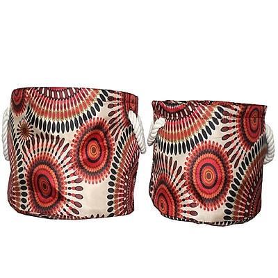 Bloomsbury Market Decorative Storage Fabric 2 Piece Bin Set; Red