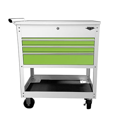 The Original Pink Box Industrial Utility 34'' Wide 3 Drawer Bottom Rollaway Chest; White/Lime Green