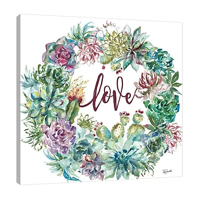 Bungalow Rose 'Succulent Wreath: Love' Print on Wrapped Canvas; 30'' H x 30'' W