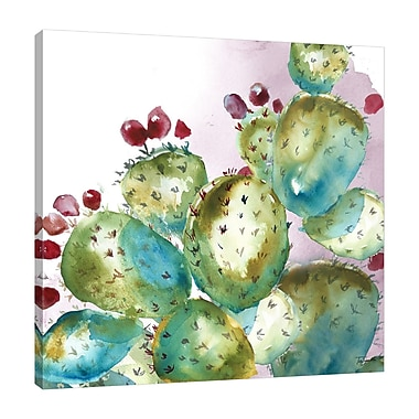 Bungalow Rose 'Succulent Prickly Pear Cactus' Print on Wrapped Canvas; 36'' H x 36'' W