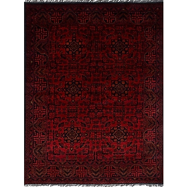 Bloomsbury Market Rosales Tribal Hand Knotted Rectangular Wool Red Area Rug