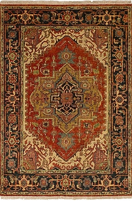 Bloomsbury Market Briggs Traditional Geometric Hand Knotted Rectangle Wool Red Area Rug