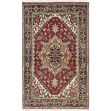 Bloomsbury Market Briggs Hand Knotted Rectangle Wool Dark Red Fringe Area Rug