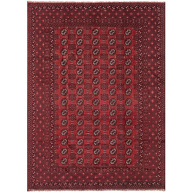 Bloomsbury Market Bridges Traditional Hand Knotted Wool Red Border Area Rug