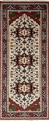 Bloomsbury Market Larsen Hand-Knotted Wool Cream/Red Area Rug