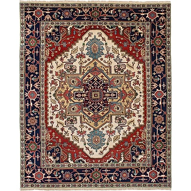 Bloomsbury Market Briggs Hand Knotted Wool Cream/Red Fringe Area Rug