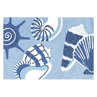 Highland Dunes Regine Shells Coastal Blue Area Rug