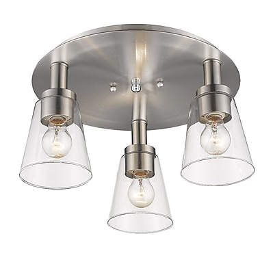 Gracie Oaks Jina 3-Light Flush Mount; Brushed Nickel