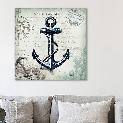 Breakwater Bay 'Seaside Postcard: Anchor' Graphic Art Print on Wrapped Canvas; 12'' H x 12'' W